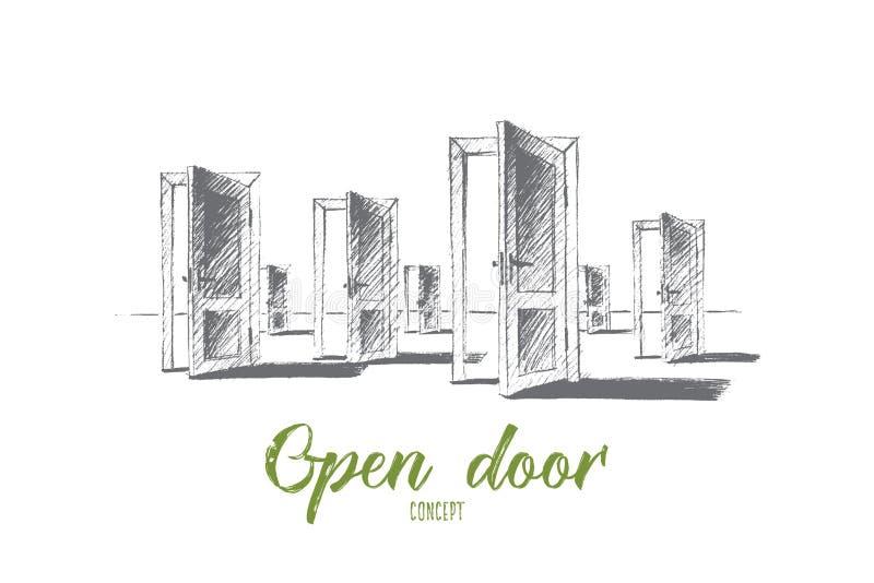 Portes ouvertes tirées par la main avec le lettrage conceptuel illustration stock