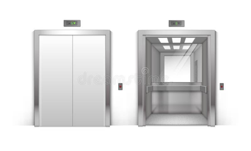 Portes réalistes d'ascenseur d'immeuble de bureaux en métal illustration stock