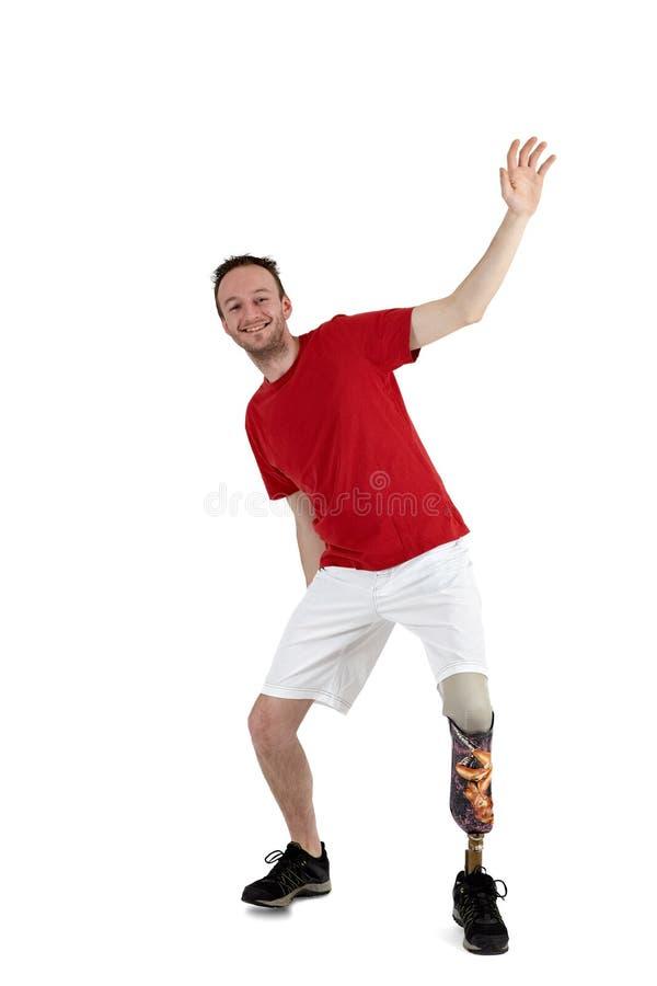 Porteur mâle de prothèse expliquant l'équilibre photo stock