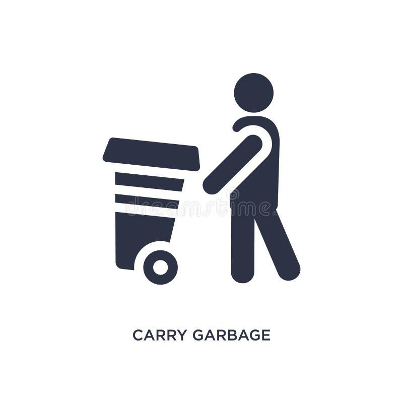 portez l'icône de déchets sur le fond blanc Illustration simple d'élément de concept de comportement illustration libre de droits