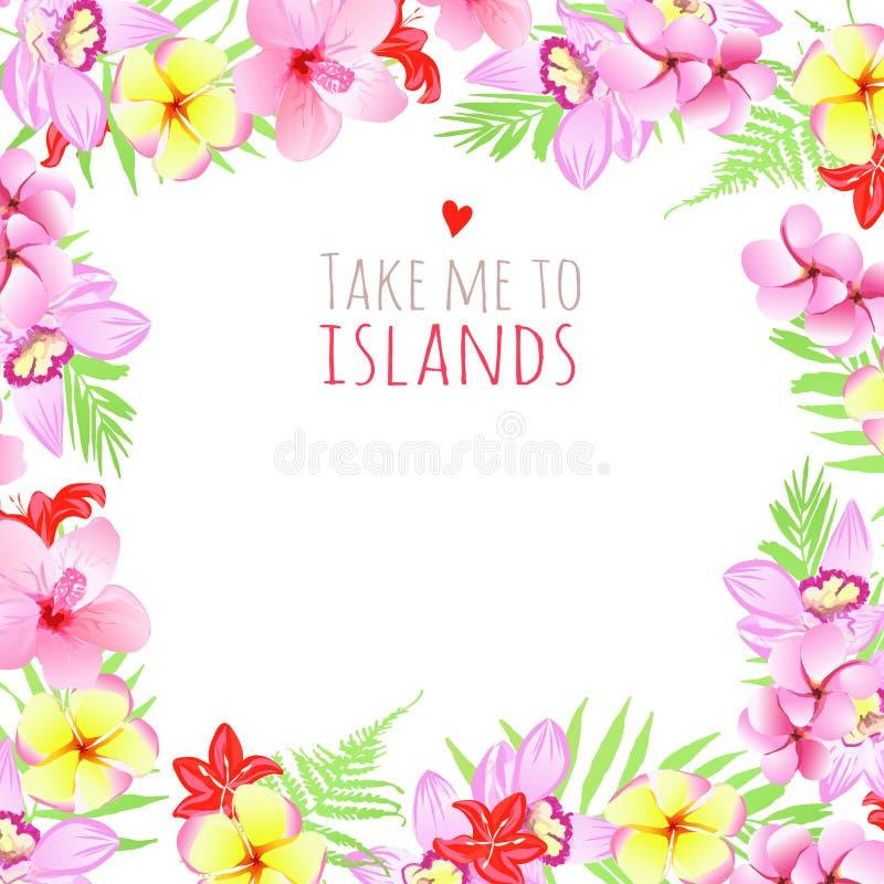 Portez-moi au cadre carré d'îles Calibre de conception avec des fleurs illustration de vecteur
