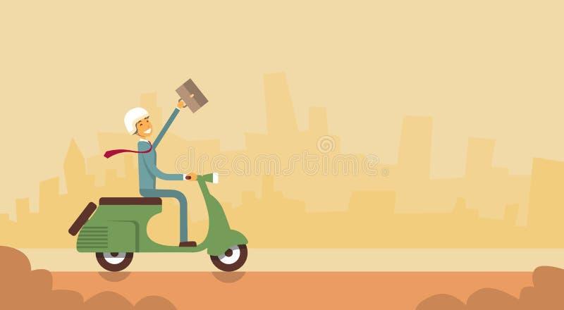 Portfölj för håll för leende för sparkcykel för motorcykel för ritt för affärsman lycklig vektor illustrationer
