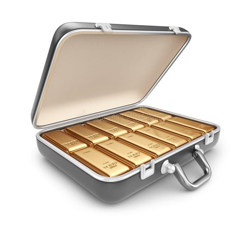 Portfölj mycket av guld- stänger. symbol 3D  stock illustrationer