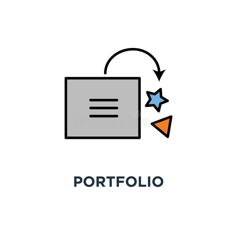 Portföljsymbol gallerit droppe i den smiley tecknad filmasken, mappen, översikten, begreppssymboldesign, sparar att intressera an vektor illustrationer