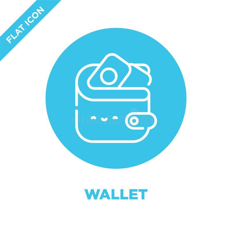 portfel ikony wektor od bierze oddaloną kolekcję Cienka kreskowa portfla konturu ikony wektoru ilustracja Liniowy symbol dla używ ilustracja wektor