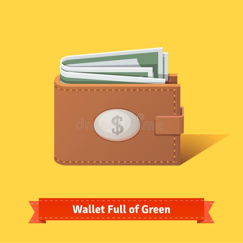 Portfel pełno zieleni dolary royalty ilustracja