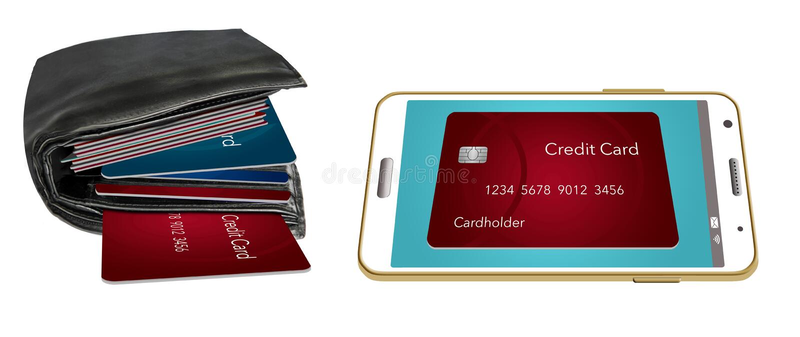 Portfel, sadło z kartami kredytowymi pokazuje obok kart kredytowych na telefonie komórkowym Ilustruje dlaczego dostawać pozbywają fotografia royalty free