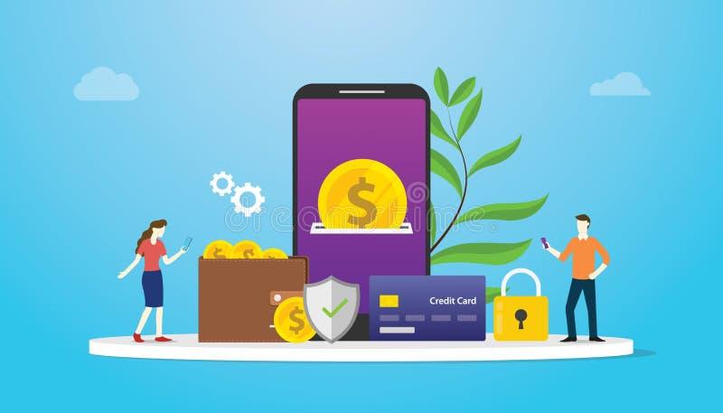 Portfel technologii płatniczy pojęcie z drużynowymi ludźmi i złocistej monety pieniądze wynagrodzeniem używa app lub apps modeluj ilustracja wektor