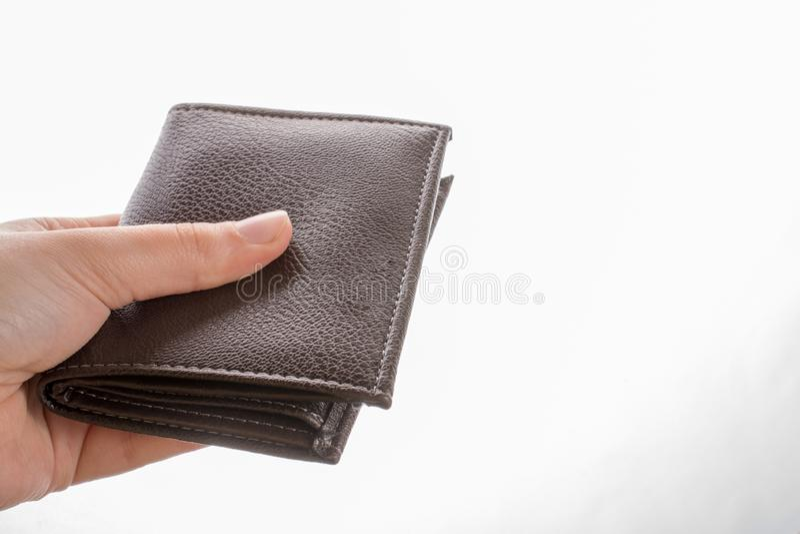 Portfel w r?ka finanse i oszcz?dzania poj?ciu obraz stock