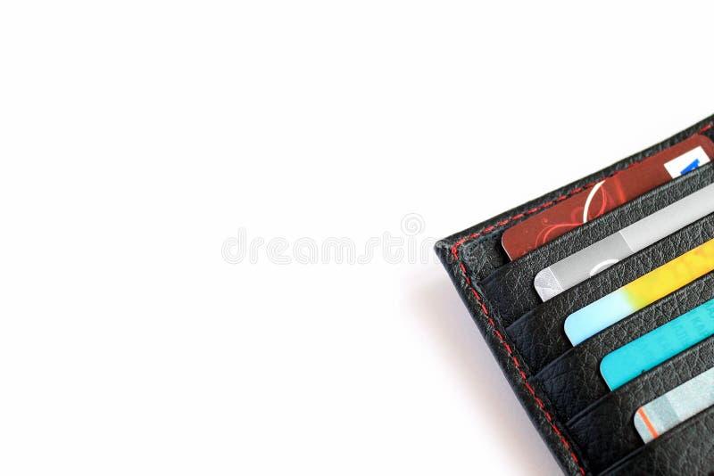Portfel z kartami na białym tle obraz stock