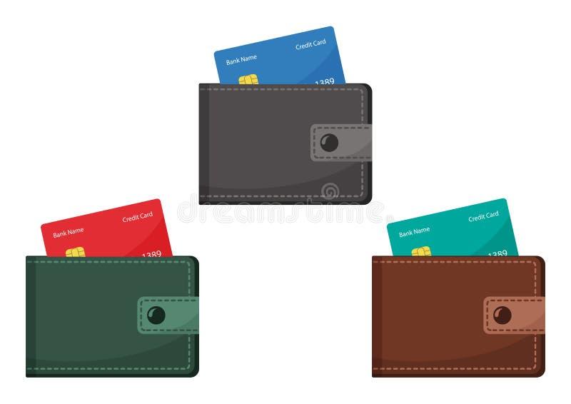 Portfel z kredytowymi kartami również zwrócić corel ilustracji wektora royalty ilustracja