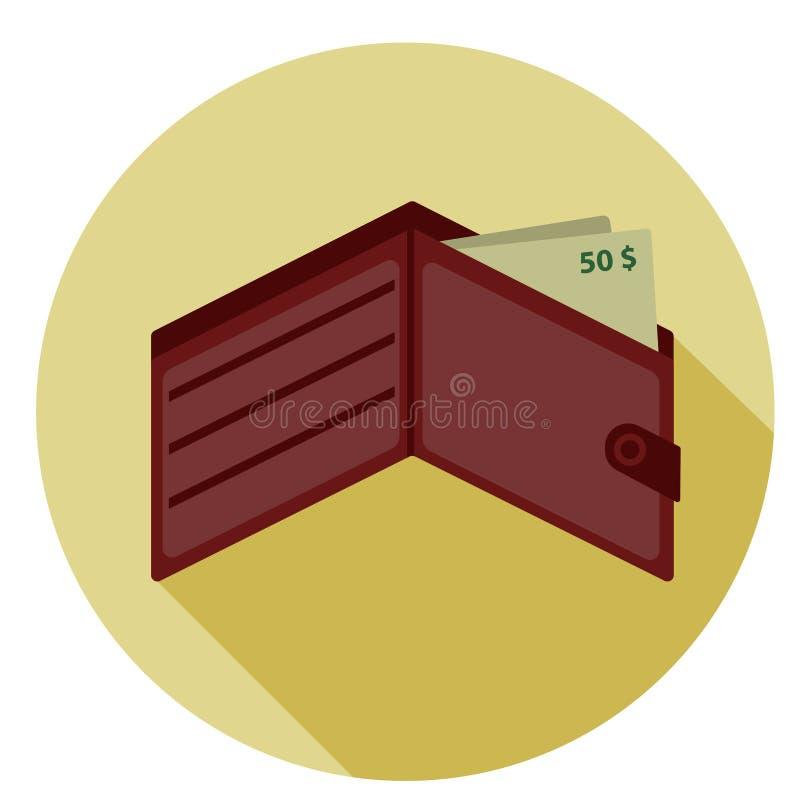 Portfel z pieniądze ikoną Dolary w czerwonej kiesie, odizolowywającej na białym tle również zwrócić corel ilustracji wektora ilustracji