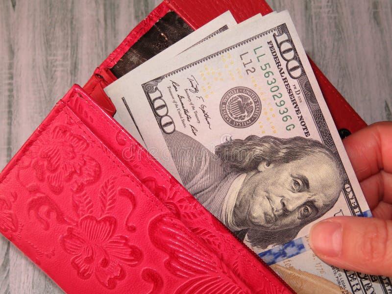 Portfel z USA dolarami w kobiet rękach, wynagrodzenia pojęcie obraz royalty free