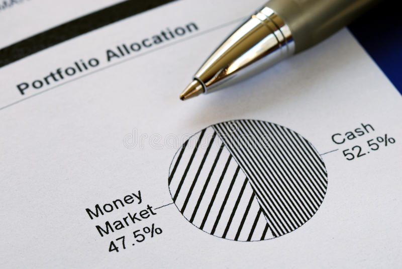 Portfolio allocation. Illustrates the asset in a pie chart royalty free stock image