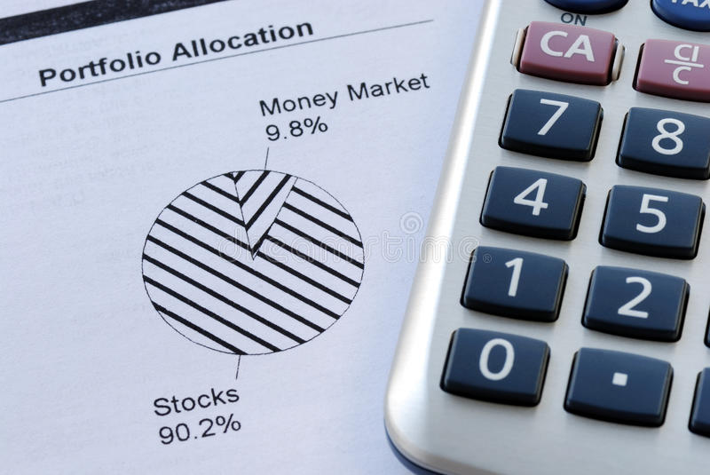 Portfolio allocation. Illustrates the asset in a pie chart stock photography