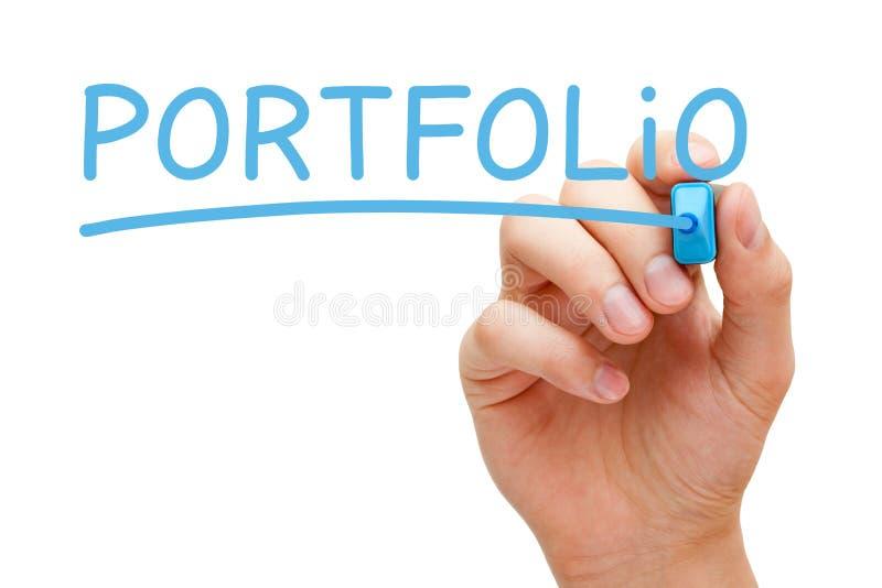 Portfolio Blue Marker. Hand writing Portfolio with blue marker on transparent wipe board stock photos