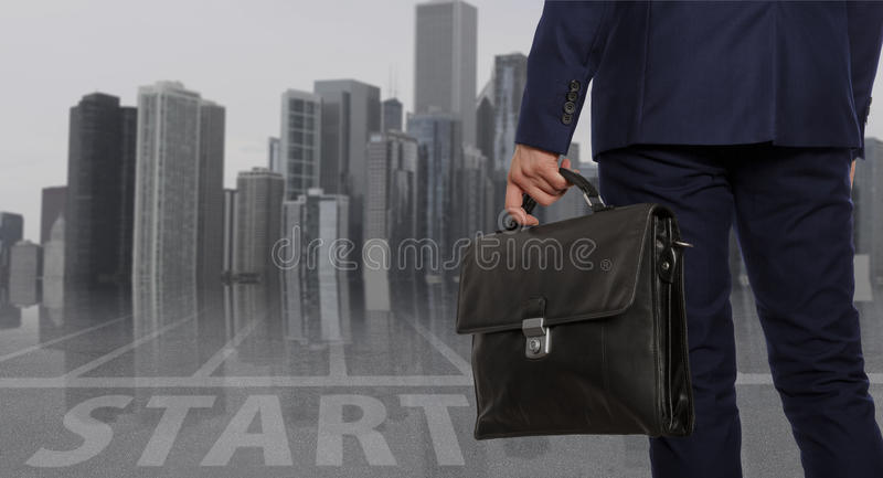 Portfolio investor. Businessman with briefcase stock photo