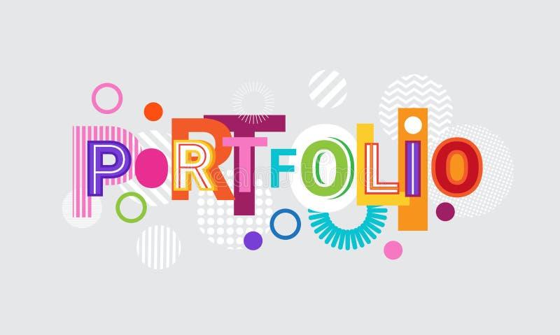 Portfolio-kreatives Wort über abstrakter geometrischer Form-Hintergrund-Netz-Fahne lizenzfreie abbildung
