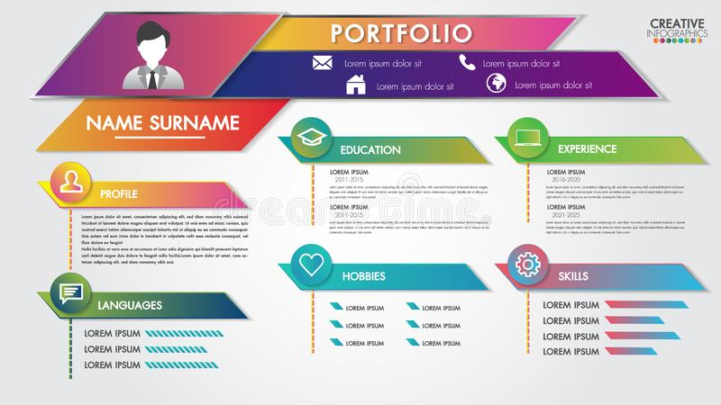 Portfolio resume infographics profile present template modern design with icons user interface kit for business, presentations vector illustration