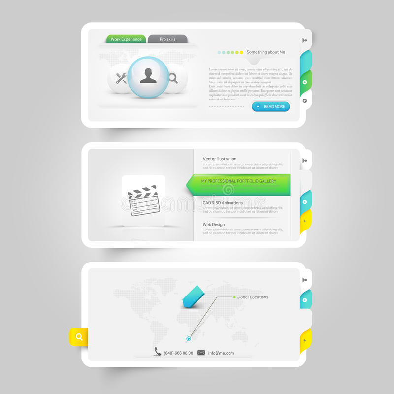 Portfolio website templates. Colorful responsive flat elements with icons for personal portfolio website,mobile templates and printing stock illustration