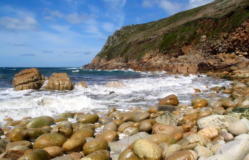 Porth Nanven in Cornwall UK. stock photo