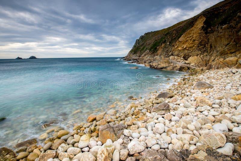 Porth Nanven kåtadal Cornwall arkivfoto