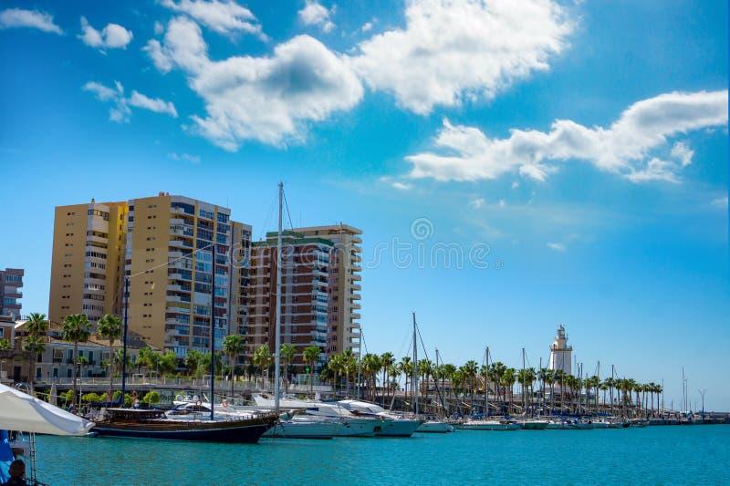 Porthamn malaga med yachter och palmträd fotografering för bildbyråer