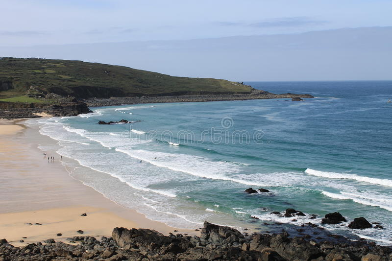 Porthmeor Beach at St Ives in Cornwall, England, UK stock photos