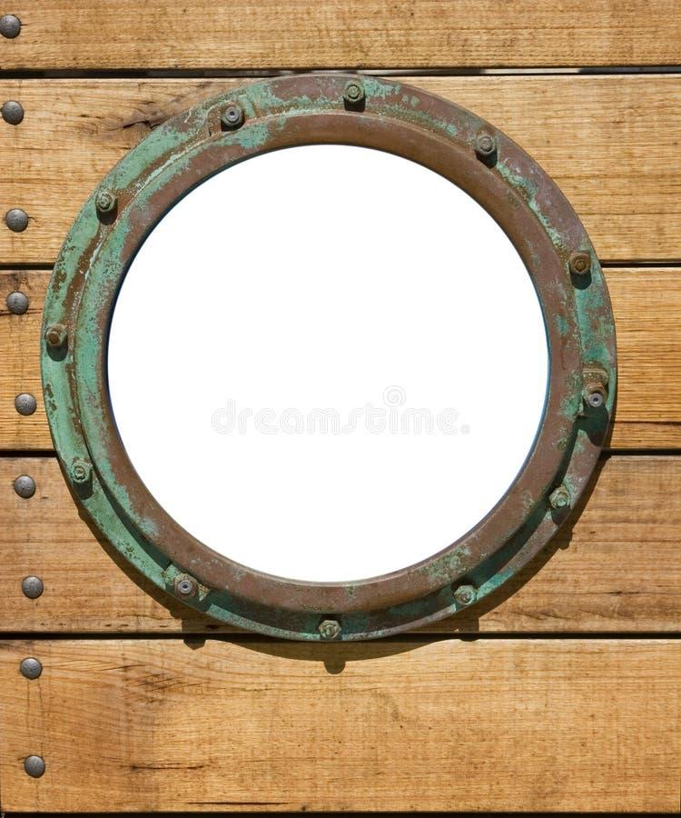 porthole drewniany ścienny fotografia stock