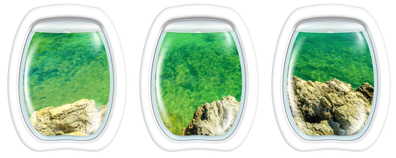 Porthole frame on coastline cliffs royalty free stock photos