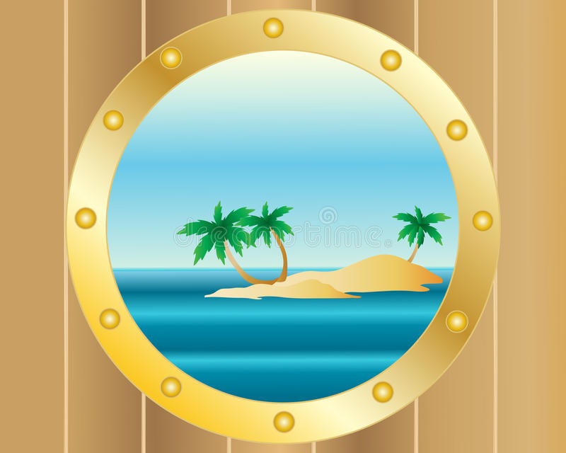 Download Porthole with island stock vector. Image of travel, trees - 16178336