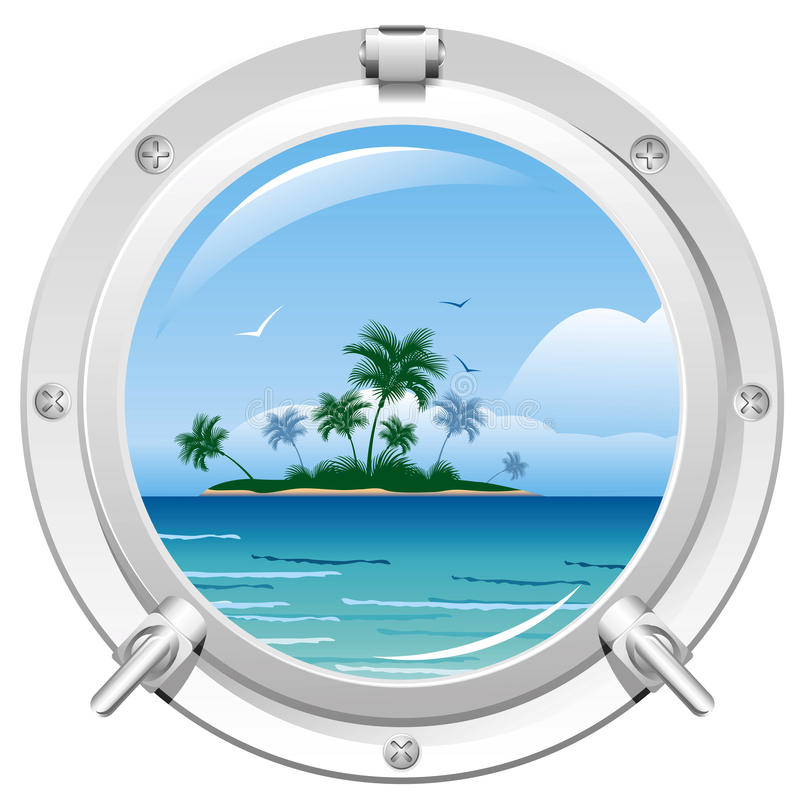 Porthole with sea view royalty free illustration