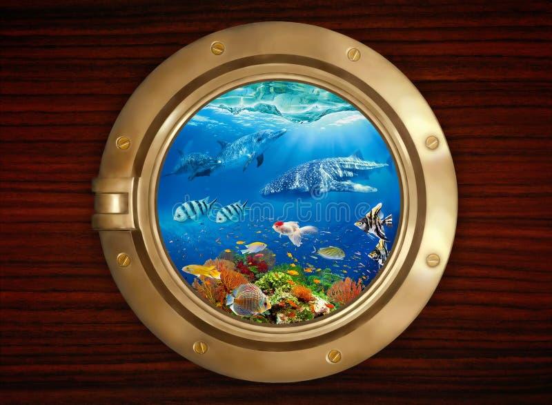 Porthole and underwater world royalty free stock photo