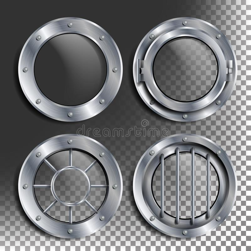 Silver Porthole Vector. Round Metal Window With Rivets. Bathyscaphe Ship Frame Design Element, Rocket, Aluminum. For stock illustration