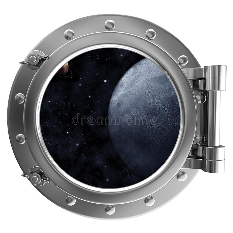 Porthole with a view of space vector illustration