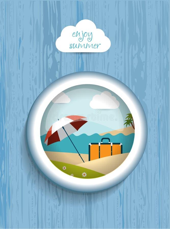Porthole wiew Lato pogodny plażowy dzień royalty ilustracja