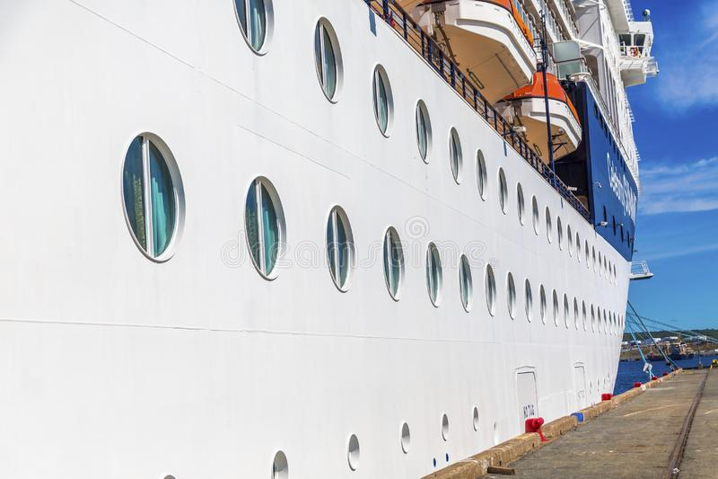 Portholes Along Cruise Ship stock photos