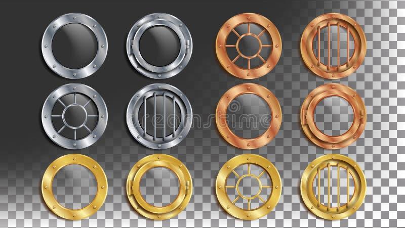 Portholes Ustawiający wektor Round metalu okno z nitami Bathyscaphe statku ramy projekta element, rakieta, pancernik royalty ilustracja