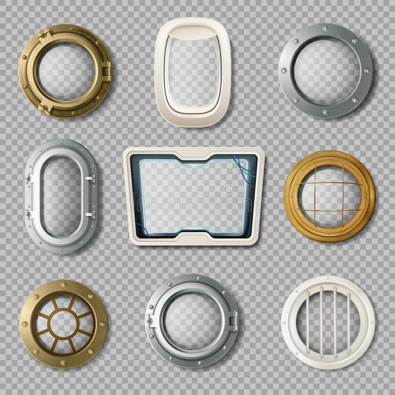 Portholes Of Various Shape Realistic Set vector illustration