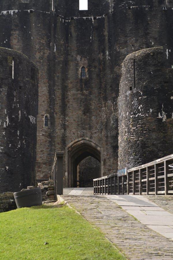 Porthus Caerphilly slott royaltyfri fotografi
