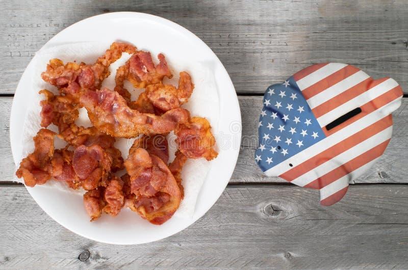 Porti a casa il concetto del bacon immagini stock libere da diritti