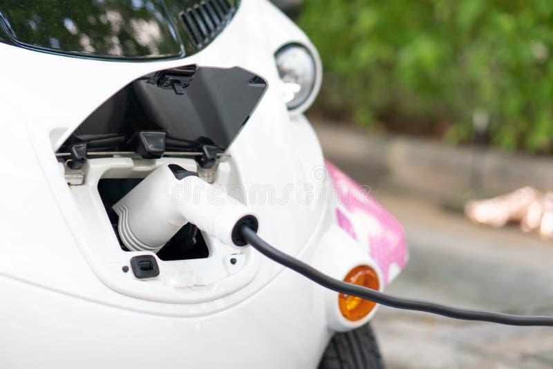 Porti i caricabatterie si collegano con l'automobile elettrica per mettere il elett. immagine stock