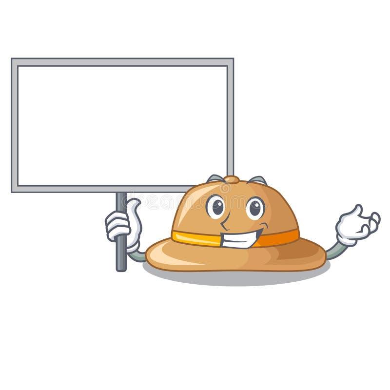 Porti il cappello del sughero del bordo isolato sulla mascotte illustrazione di stock