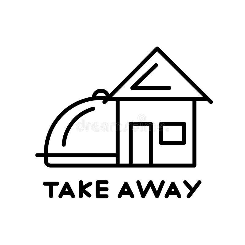 Porti via il vettore dell'icona isolato su fondo bianco, porti via il segno, la linea sottile elementi di progettazione nello sti illustrazione di stock