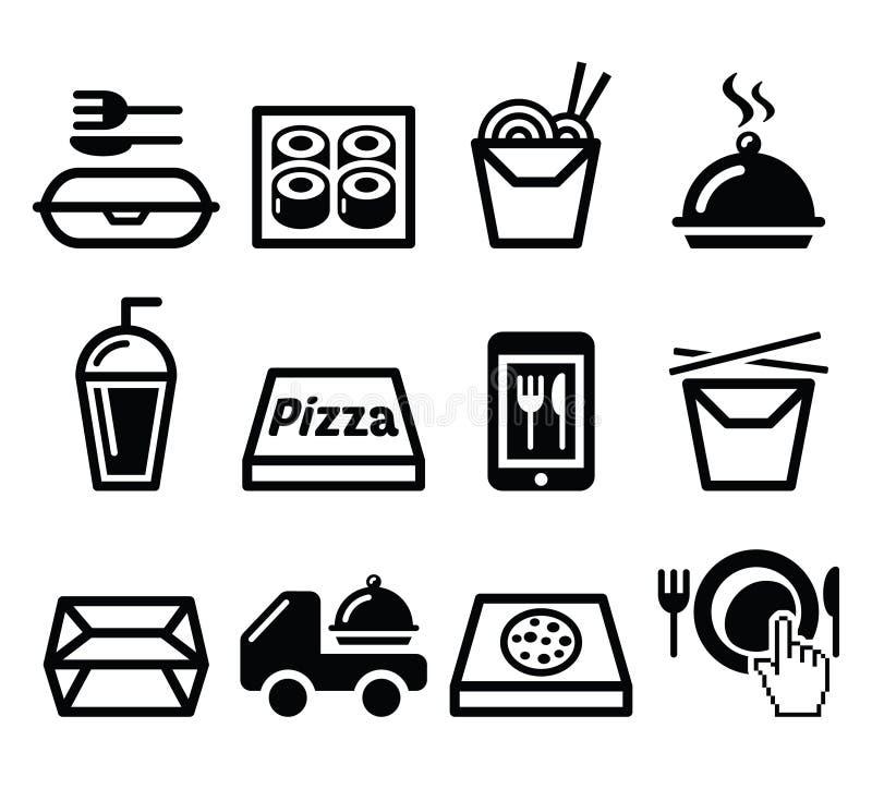Porti via la scatola, icone del pasto messe illustrazione di stock