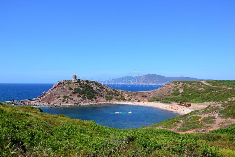 Porticciolo海滩和塔,撒丁岛-意大利 图库摄影
