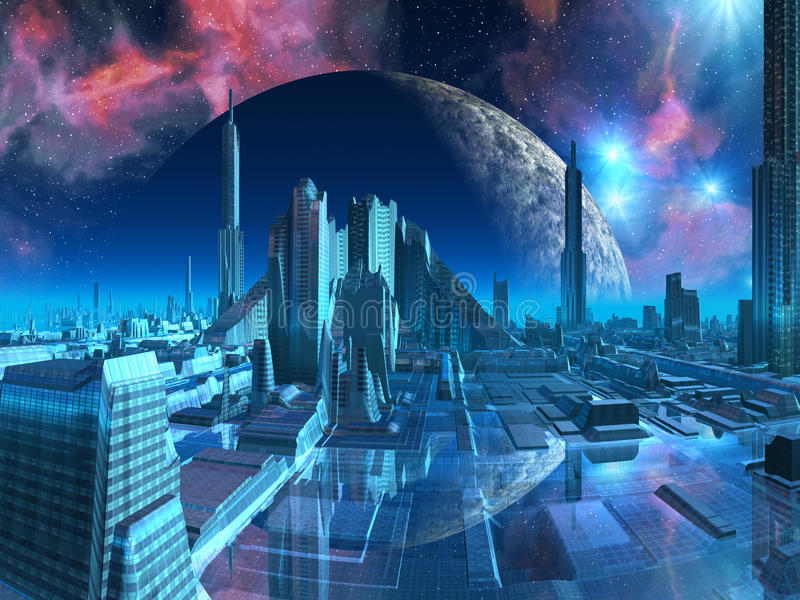 Porticciolo della città del Aquarius illustrazione vettoriale
