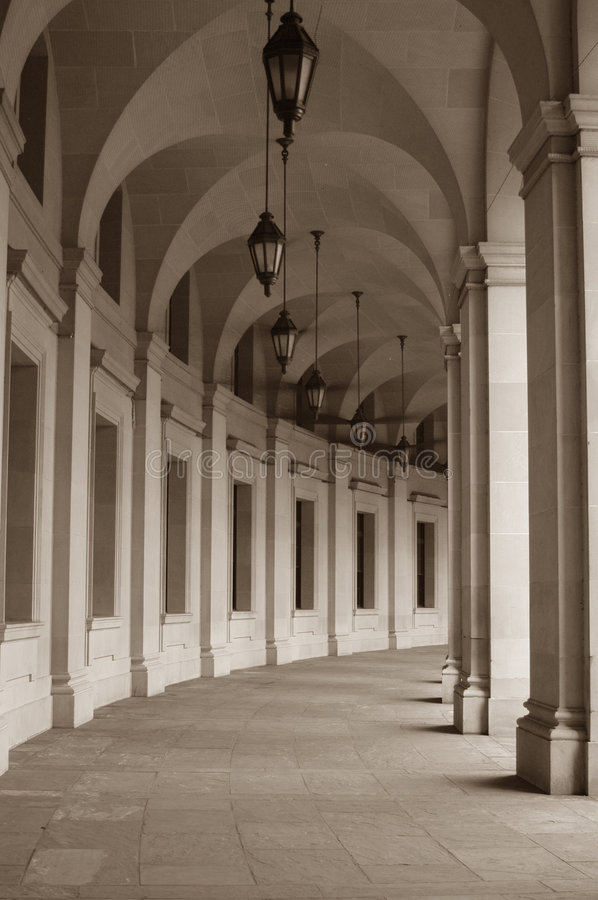 Portico. Of historic building in sepia royalty free stock photo