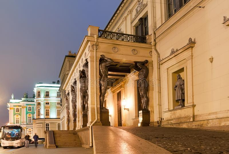 Portico with Alantes of The New Hermitage. St Petersburg royalty free stock photography