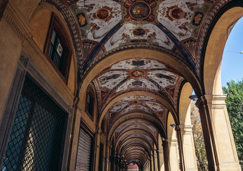 Portico in Bologna. Painted portico of house located on Cavour Square in historic part of Bologna city, Italy royalty free stock image
